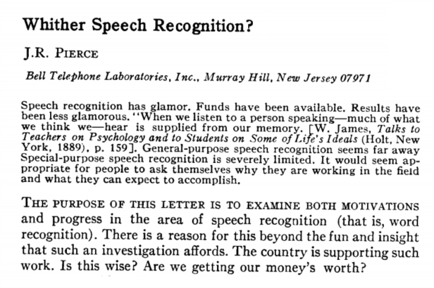 A Brief History of ASR: Automatic Speech Recognition